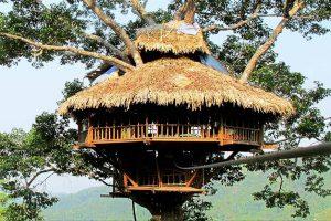 Tree houses in Bokeo, Cambodia