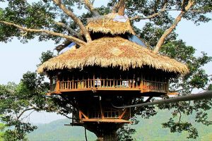 Tree houses in Bokeo, Cambodia